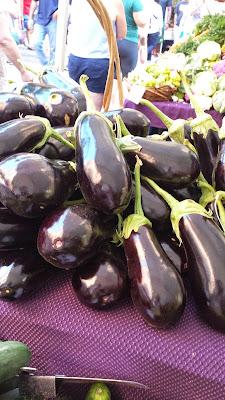 Portland Farmers Market PSU eggplants glistening