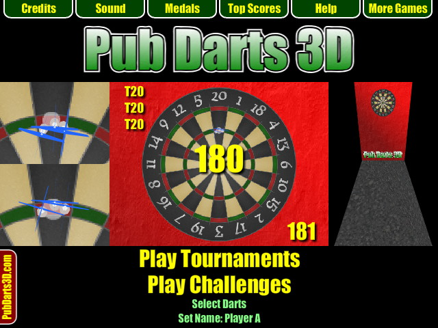 Pub Darts 3D - Start Screen