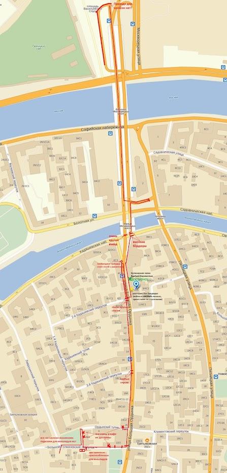 Карта Большой Ордынки с доступным маршрутом