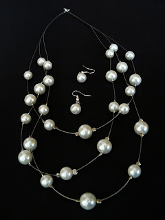 biżuteria z półfabrykatów - białe perły (komplet)
