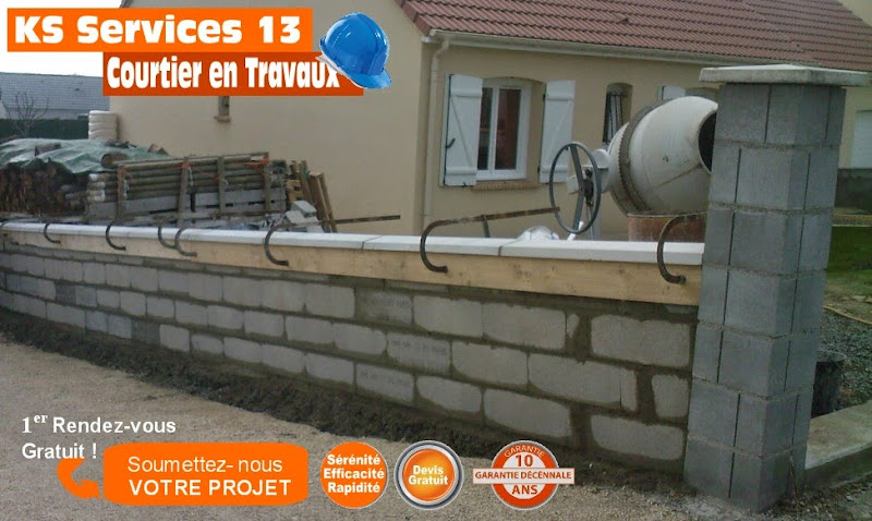 Ks services 13 prix au m2 pose parpaing mur de cloture - Pose d un grillage en limite de propriete ...