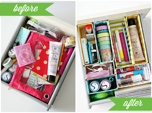 CerealBoxDeskDrawerOrganizerBeforeAfter DIY Cereal Box Drawer Dividers | iheartorganizing DIY Organizing Tutorial