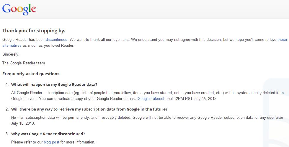 Google reader fin