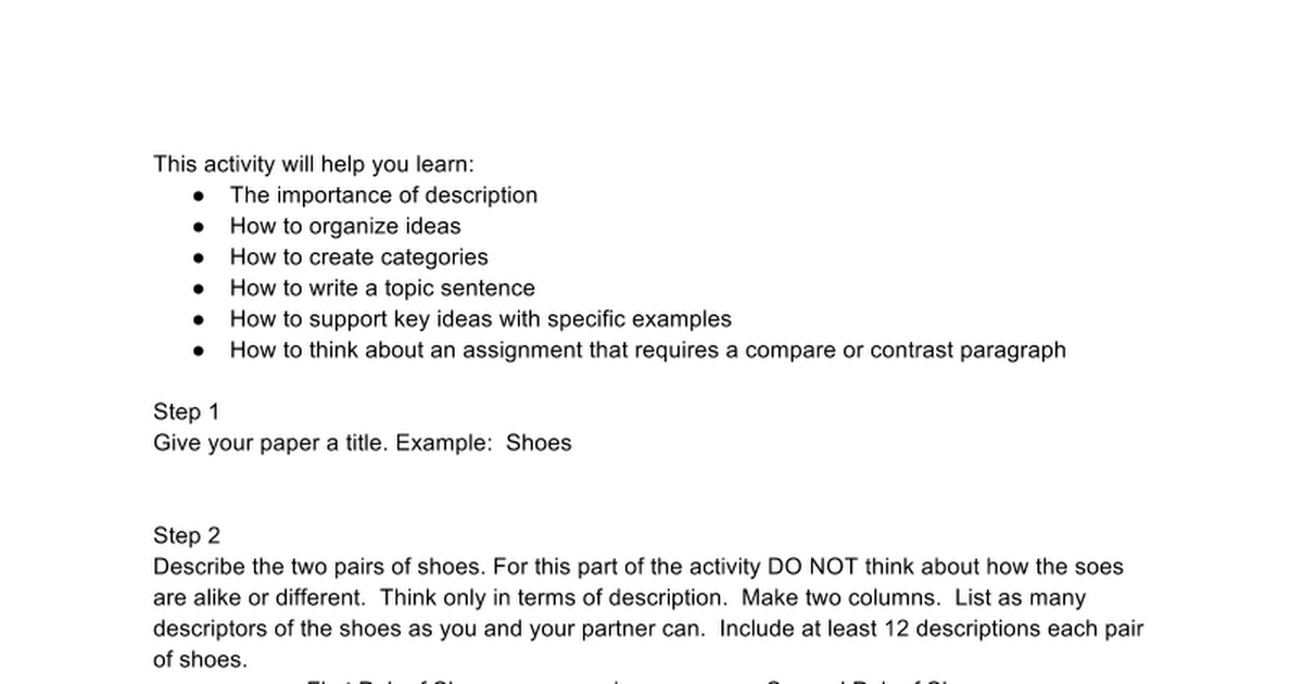 steps to write a compare contrast paragraph google docs
