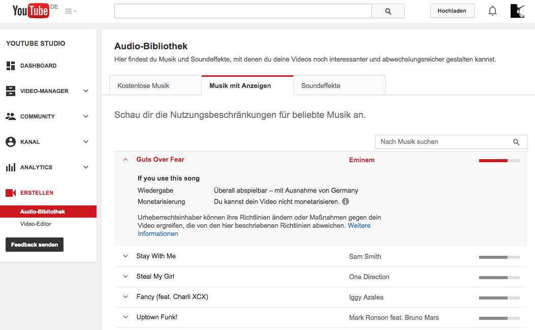 YouTube Audio Bibliothek