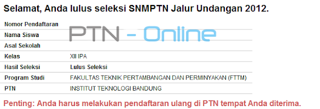 Pengumuman SNMPTN 2012 Jalur Undangan