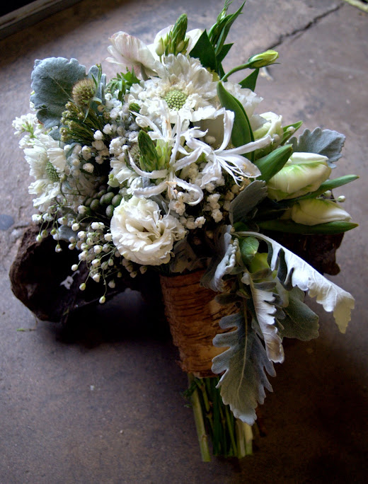 White Bohemian Wedding Bouquet