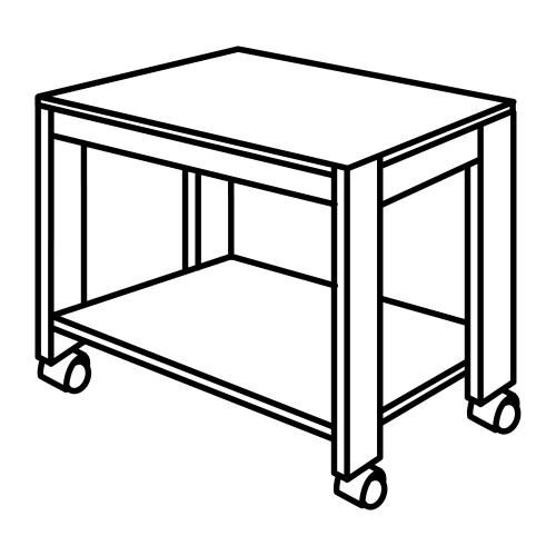 Tisch mit Rädern - freie Malvorlagen