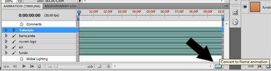 Mudando para o modo Frames Animation, em vez de Timeline
