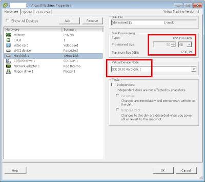 Cambiar nodo de dispositivo disco duro de IDE a SCSI en VMware ESXi 5