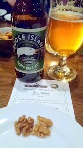 Welcome Snack of sugar and spiced walnuts to gow ith the Welcome Beer of Goose Island IPA for the Raven and Rose and Goose Island Brewers' Dinner Series event on December 7, 2014