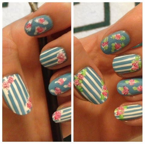 Cath Kidston Nails nail art manicure floral flowers pretty cute pastels