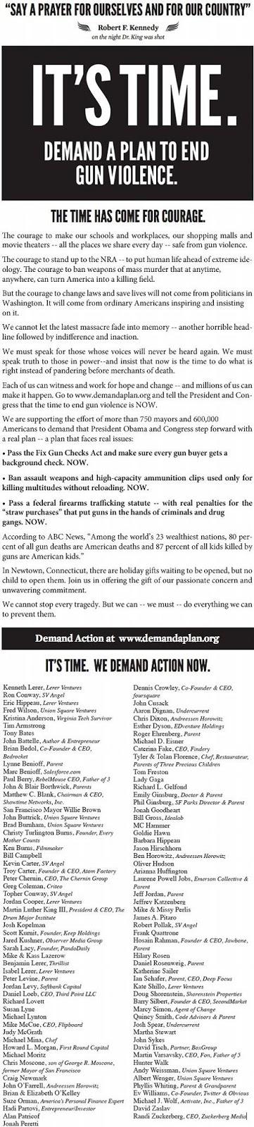 銃規制を求めレディー・ガガやM・C・ハマーなど100人の著名人がNew York Timesに一面広告