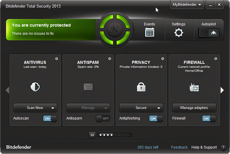 Screenshot of Bitdefender Total Security 2013 v.16.28.0.1789 Incl. Trial Reset Antivirus PC Software Free Download at Alldownloads4u.Com