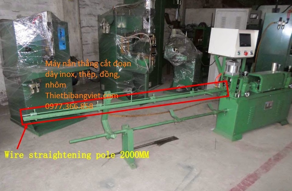 Máy nắn thẳng dây thép có bộ đếm sản phẩm, máy duỗi dây inox có động cơ servo