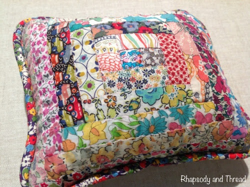 Liberty Log Cabin Pincushion by Rhapsody and Thread