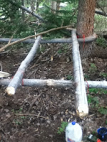 homemade survival bed made in the woods