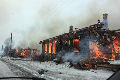 Сожжение деревни Кежмы в зоне затопления Богучанской ГЭС