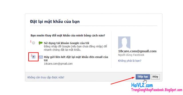 phương thức xác minh địa chỉ email để lấy lại mật khẩu facebook