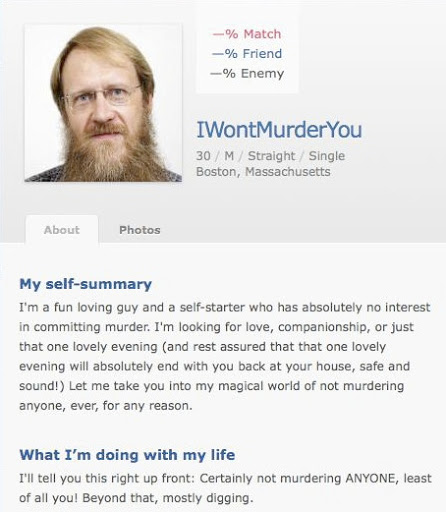 Weird dating site profiles samples