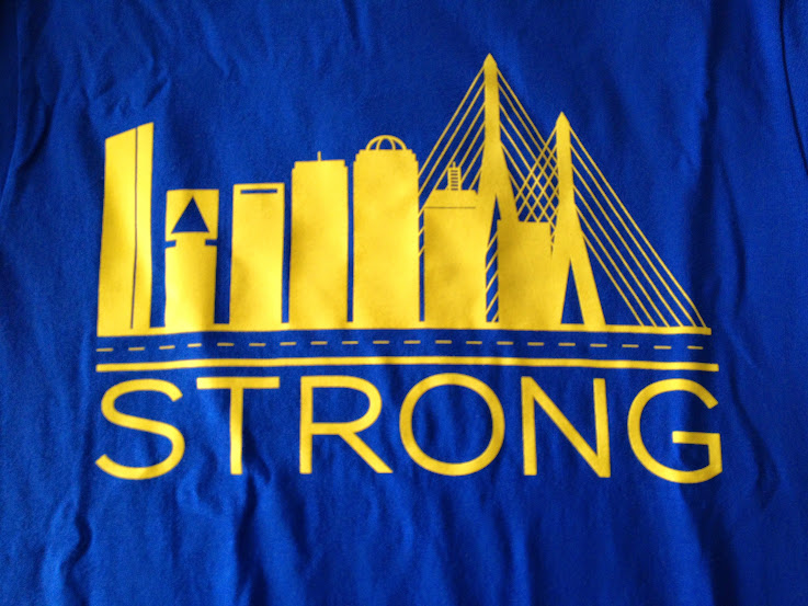 Boston Strong tee shirt blue and yellow