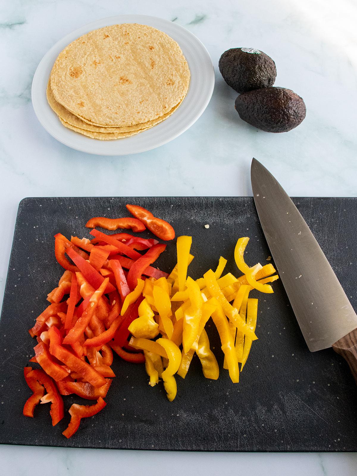 fresh sliced bell peppers for steak tacos