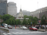 There's Independence Hall surrounded by all the rest of Philly