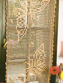 cortina tejida a crochet con mariposas como tejer una cortina a ...