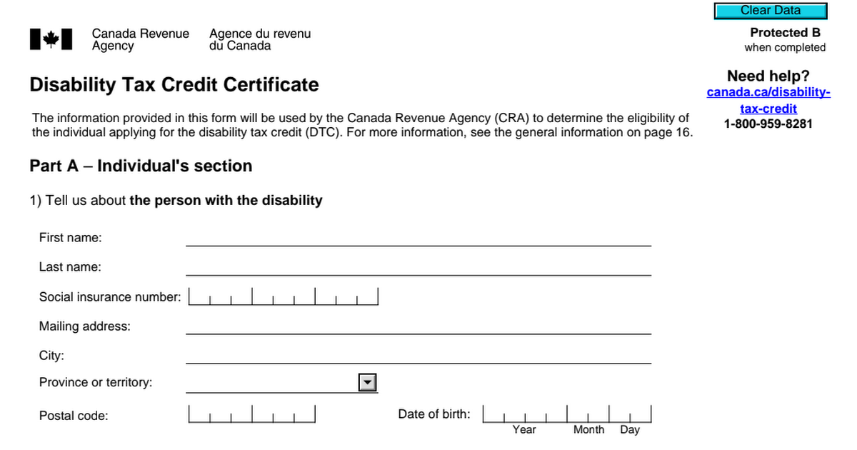 CRA disability tax credit form filled according to Dr