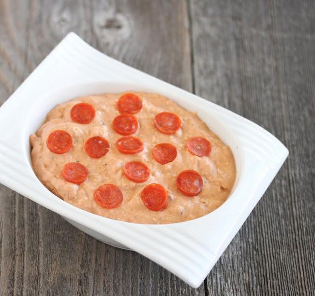 overhead photo of pizza dip