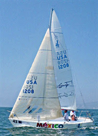 J24 sailing north upwind in Mexico regatta