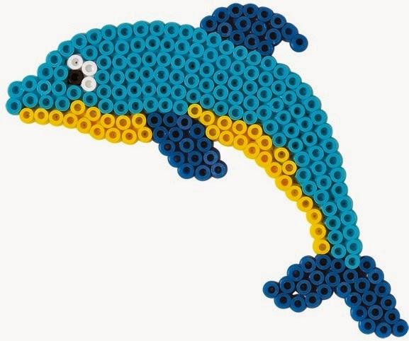 Hình chú Cá heo ngộ nghĩnh đẹp mắt trong bộ xếp hạt Hama 4511 Penguin, Dolphin and Circle