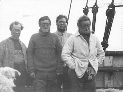 South Pole Party (L to R) Wild, Shackleton, Marshall and Adams