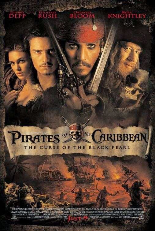 Poster Of Pirates of the Caribbean 1: Curse of the Black Pearl (2003) Full Movie Hindi Dubbed Free Download Watch Online At Alldownloads4u.Com