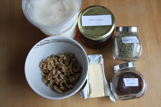 All the ingredients for making pork fat Christmas walnuts.