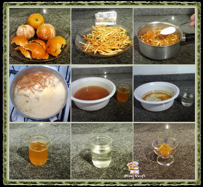 Retirando o amargo da casca da tangerina