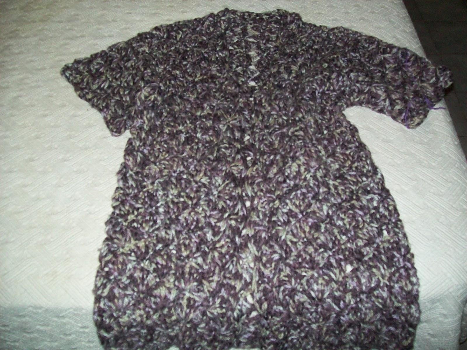 Saco Tejido Al Crochet Con Punto Fantas  A En Lana Matizada