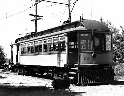 1800 - Petaluma and Santa Rosa  Railway car #63 on electric tracks. All of the interurban passenger cars had express compartments and carried small parcels at the rear. This car is  located in Rio Vista Railroad Museum.
