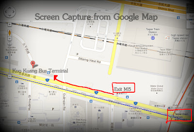 Google Map illustrating how to walk from M5 to Kuo Kuang Bus Terminal.