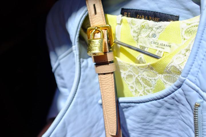baby blue leather jacket zara lemon yellow lace dress