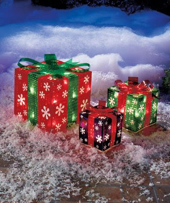 Set of 3 Lighted Gift Boxes Snowflakes Red Green Purple Yard Decoration Christmas