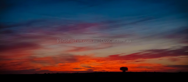 Sunset on the road from Mungo to Mildura - Go For Fun - Australian Travel and Activity Community. Inspire, Share, Enjoy!
