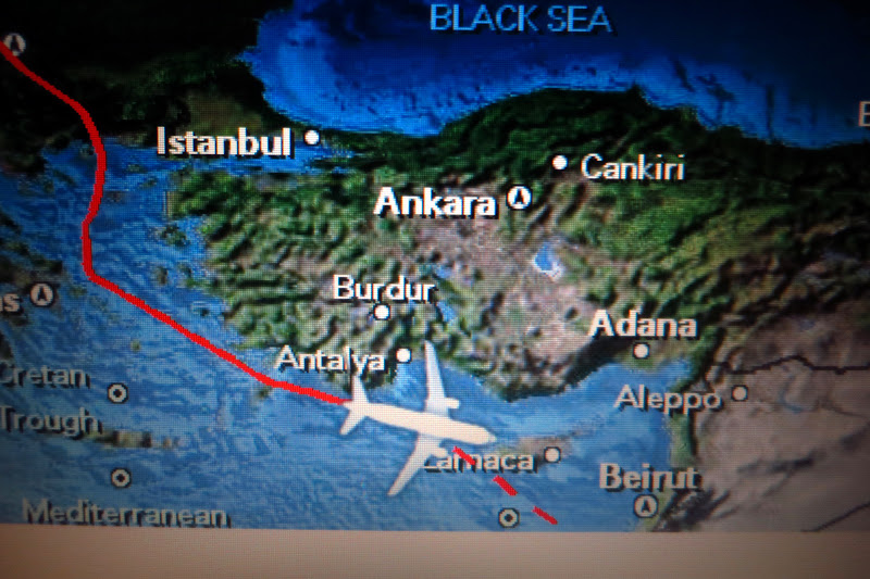 A thunderstorm over Turkey altered our flight path