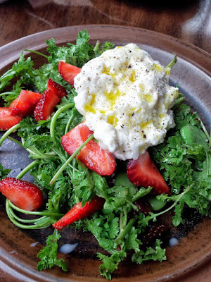 Accanto PDX, Burrata with strawberries, favas, wrinkle crinkle crumple cress