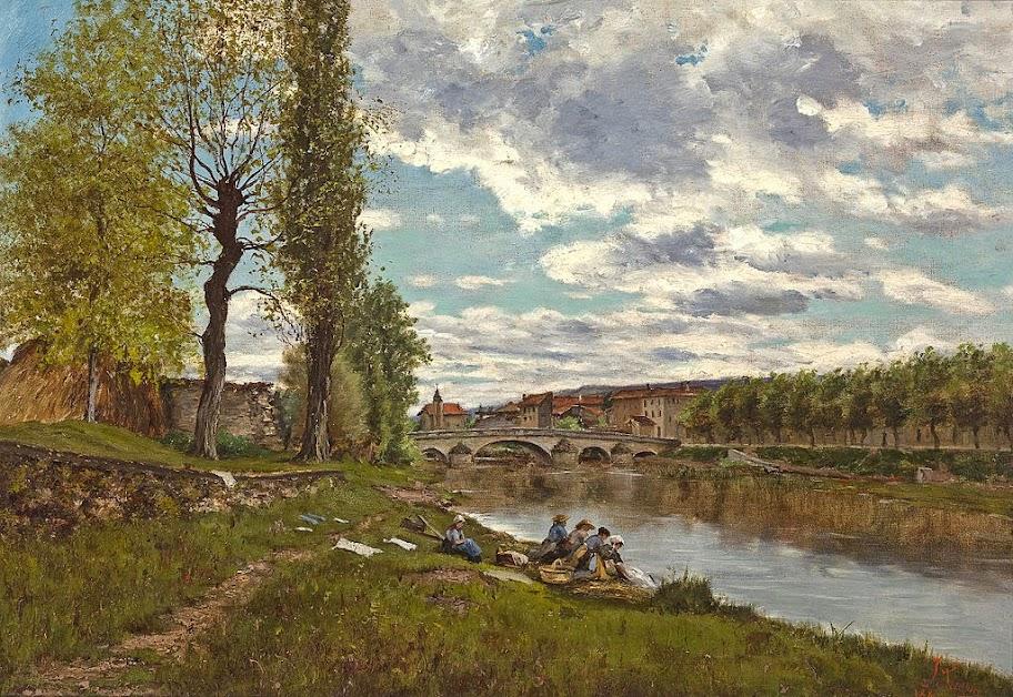 Eugène Galien-Laloue - Lavandières au bord du Loing
