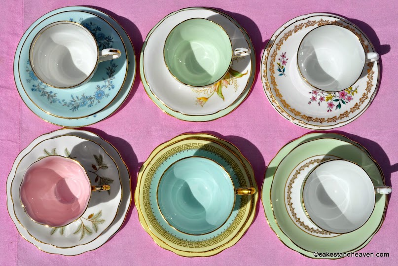 Pastels tea set six eclectic teacups with coloured glazes