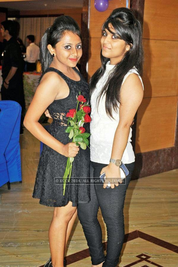 Viraj (L) and Palak during a cartoon-themed party organised by Modern Dental College and Research Centre, in Indore.