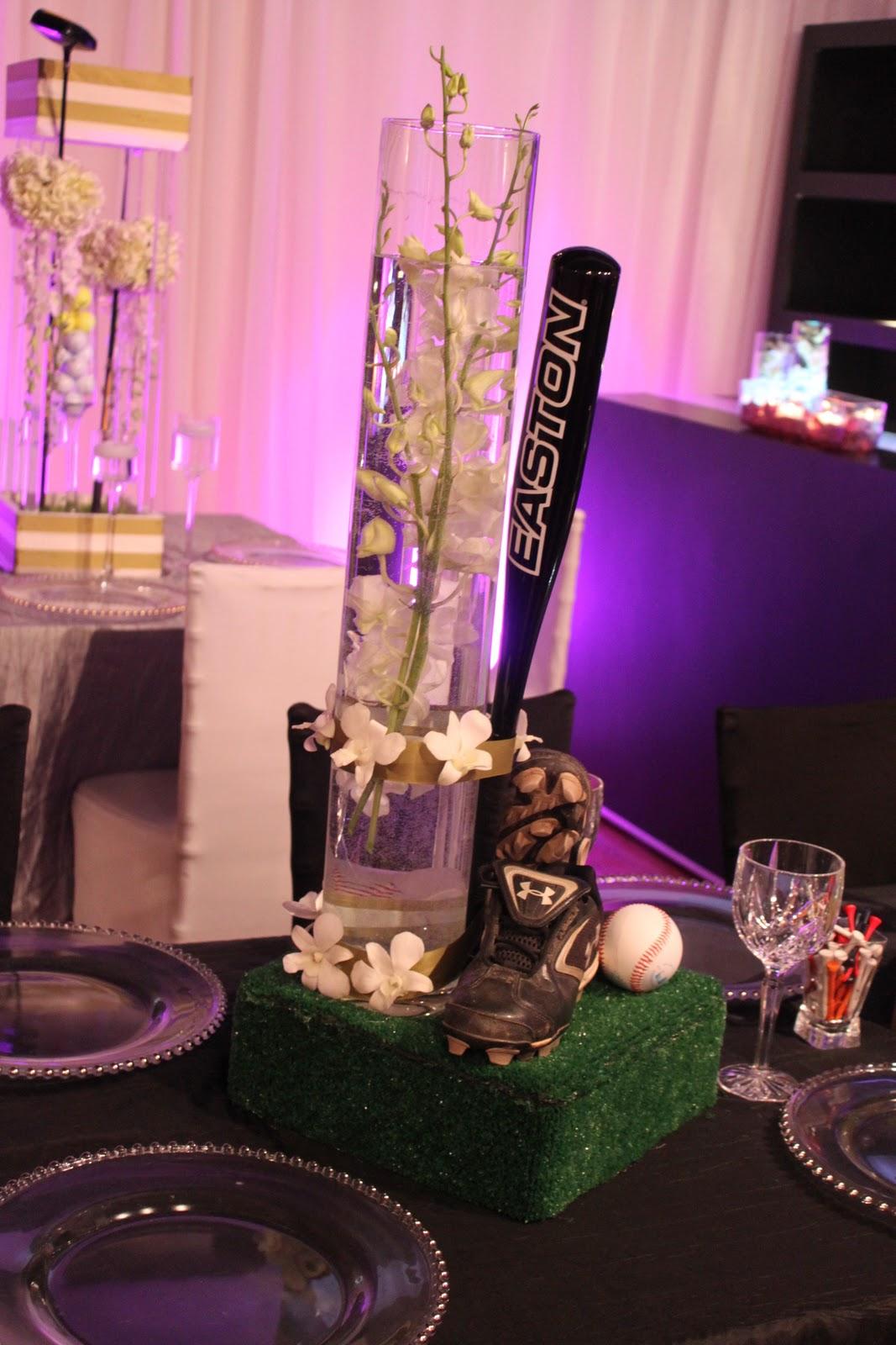 Baseball centerpieces. | Davinci Florist