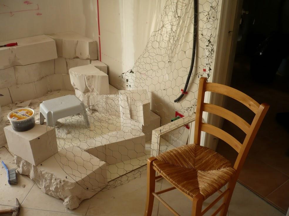 Le d but du rocher fauteuil et de la sculpture mur rocheux et bassin malawi de 700l - Proportion pour faire du beton ...