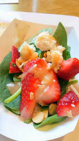 Pacific Pie NW 23rd Avenue Bloggers Event - Spinach Strawberry Rhubarb Salad with organic baby spinach, fresh strawberries, toasted almonds, goats cheese, and rhubarb vinaigrette